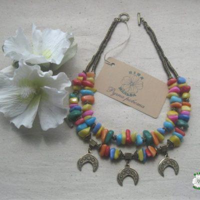 necklace, намисто, етно, луниця, веселка