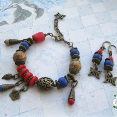 браслет, сережки, комплект, літо-2017