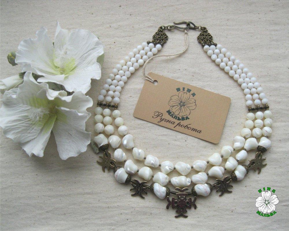 перламутр, згарди, намисто, етно, necklace