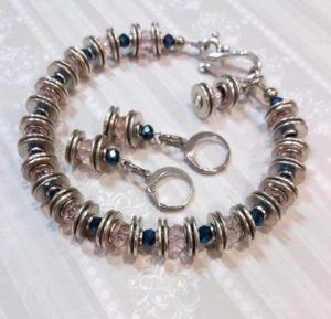 браслет, сережки, кригталь, легкість, гіпоалергенні